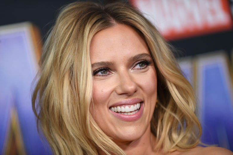 Scarlett Johansson, smiling.