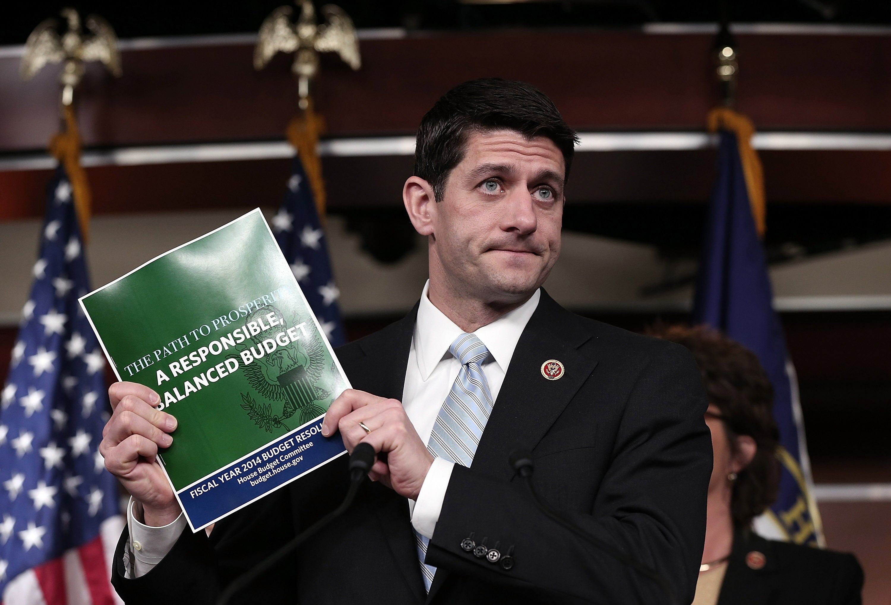 """Paul Ryan presents his """"Path to Prosperity: A responsible balanced budget"""" plan at the Capitol on March 12, 2013."""