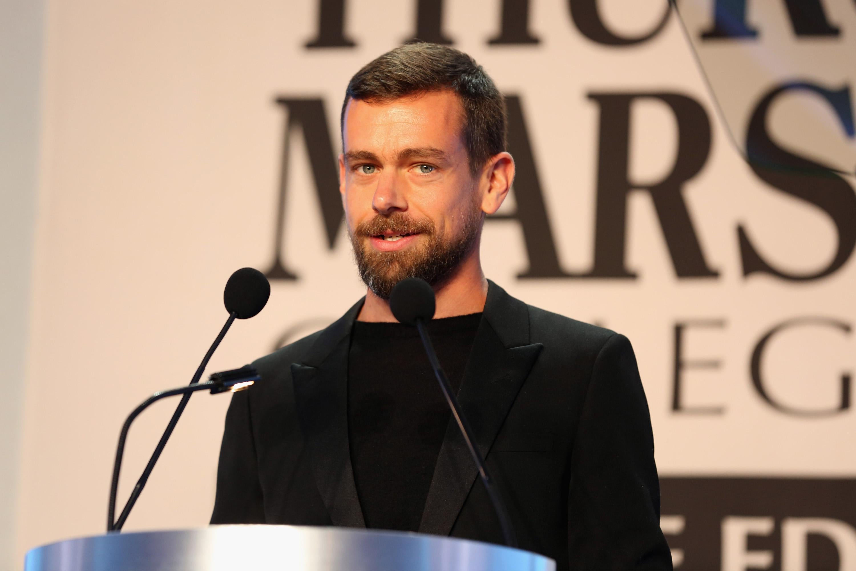 Twitter CEO Jack Dorsey speaks at an event.