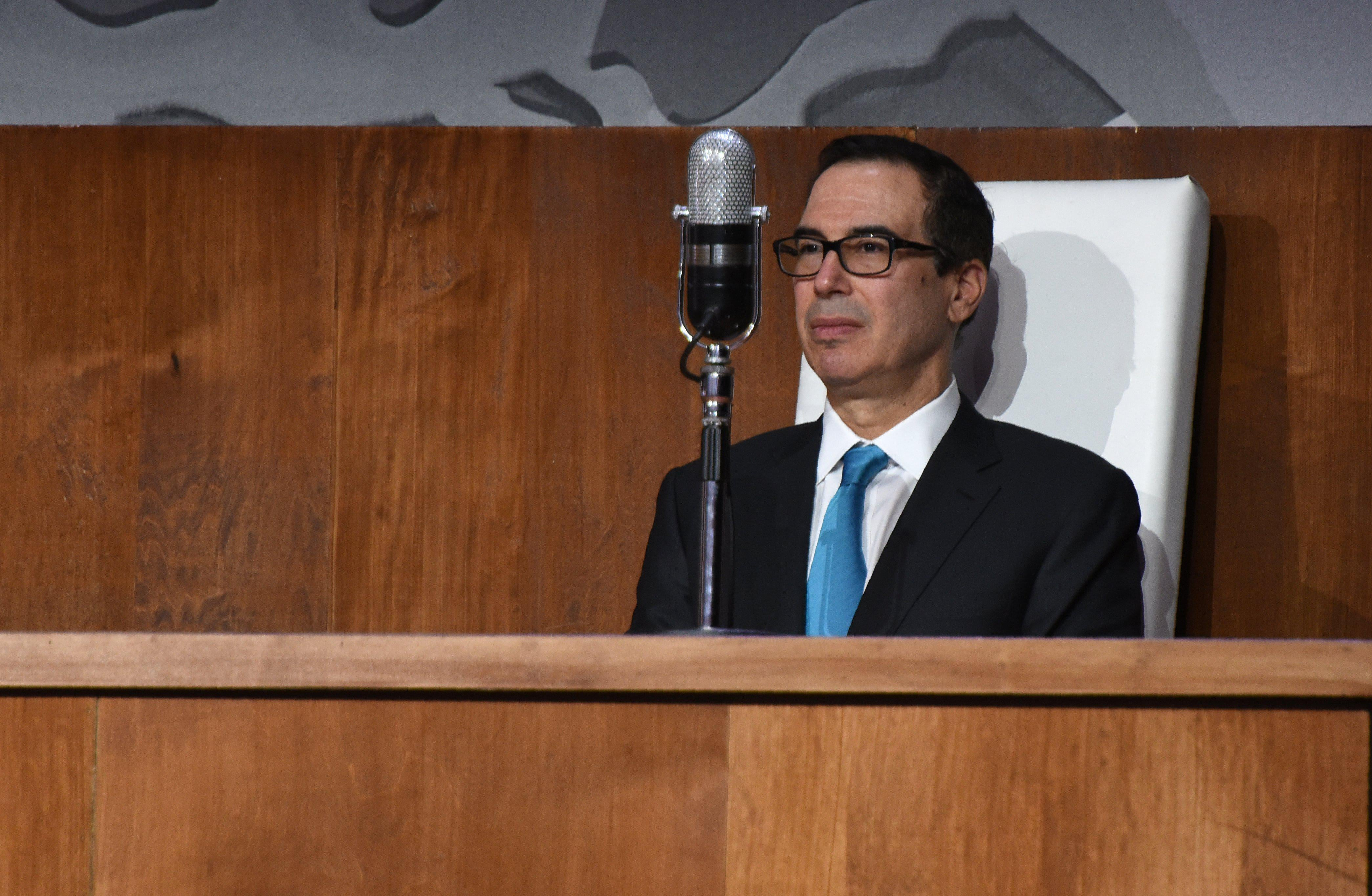 US Treasury Secretary Steven Mnuchin attends the Permanent Mission of Israel to the United Nations event celebrating the 70th anniversary of the UN vote calling for 'the establishment of a Jewish State in the Land of Israel', at Queens Museum on November 28, 2017 in New York. / AFP PHOTO / TIMOTHY A. CLARY        (Photo credit should read TIMOTHY A. CLARY/AFP/Getty Images)