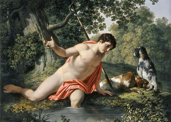 Narcissus painting by Franz Caucig.