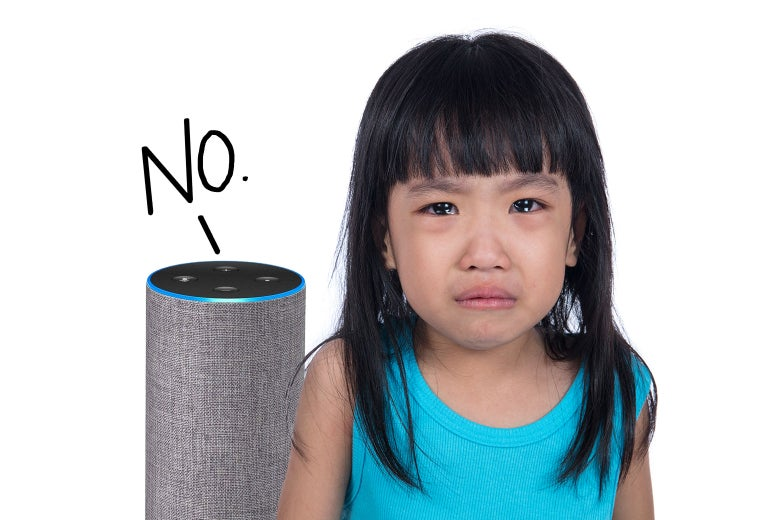 "A child crying as an Amazon device says, ""No."""