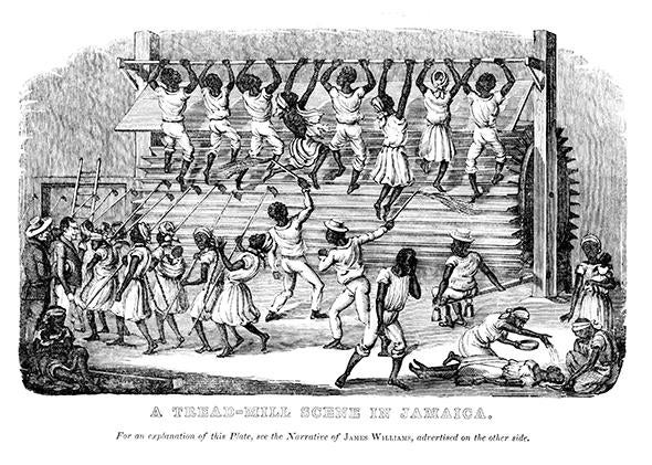 """A Tread-Mill Scene in Jamaica,"" from James Williams, A Narrative of Events Since the First of August 1834 (London, 1837)."