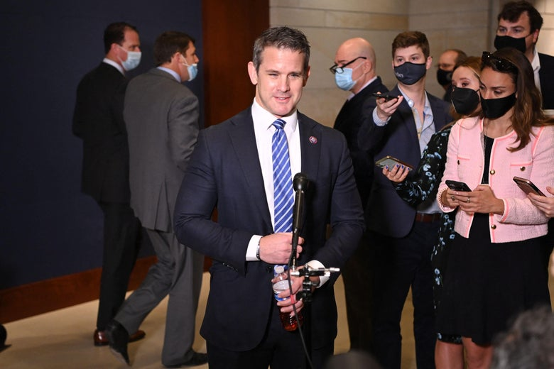 Rep. Adam Kinzinger, Republican of Illinois, speaks to reporters after Rep. Liz Cheney, Republican of Wyoming, was ousted from her leadership role on May 12, 2021 at the U.S. Capitol in Washington, D.C.