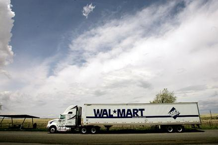 A Wal-Mart truck sits on the side of the highway May 15, 2005 near Springer, New Mexico.