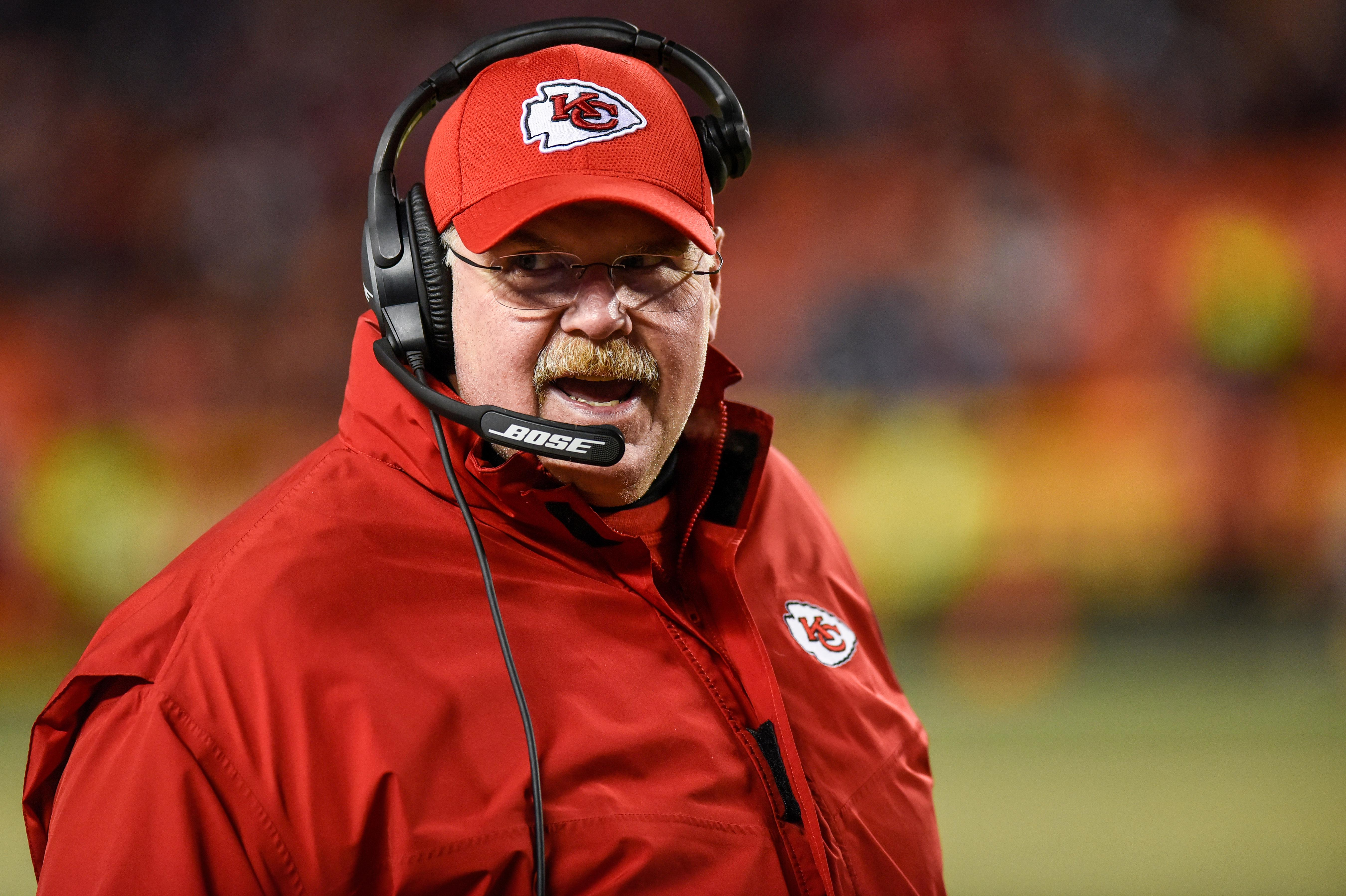 KANSAS CITY, MO - JANUARY 6: Head coach Andy Reid of the Kansas City Chiefs looks to the sidelines just before the Tennessee Titans run the last play of the AFC Wild Card Playoff Game at Arrowhead Stadium on January 6, 2018 in Kansas City, Missouri. (Photo by Jason Hanna/Getty Images)