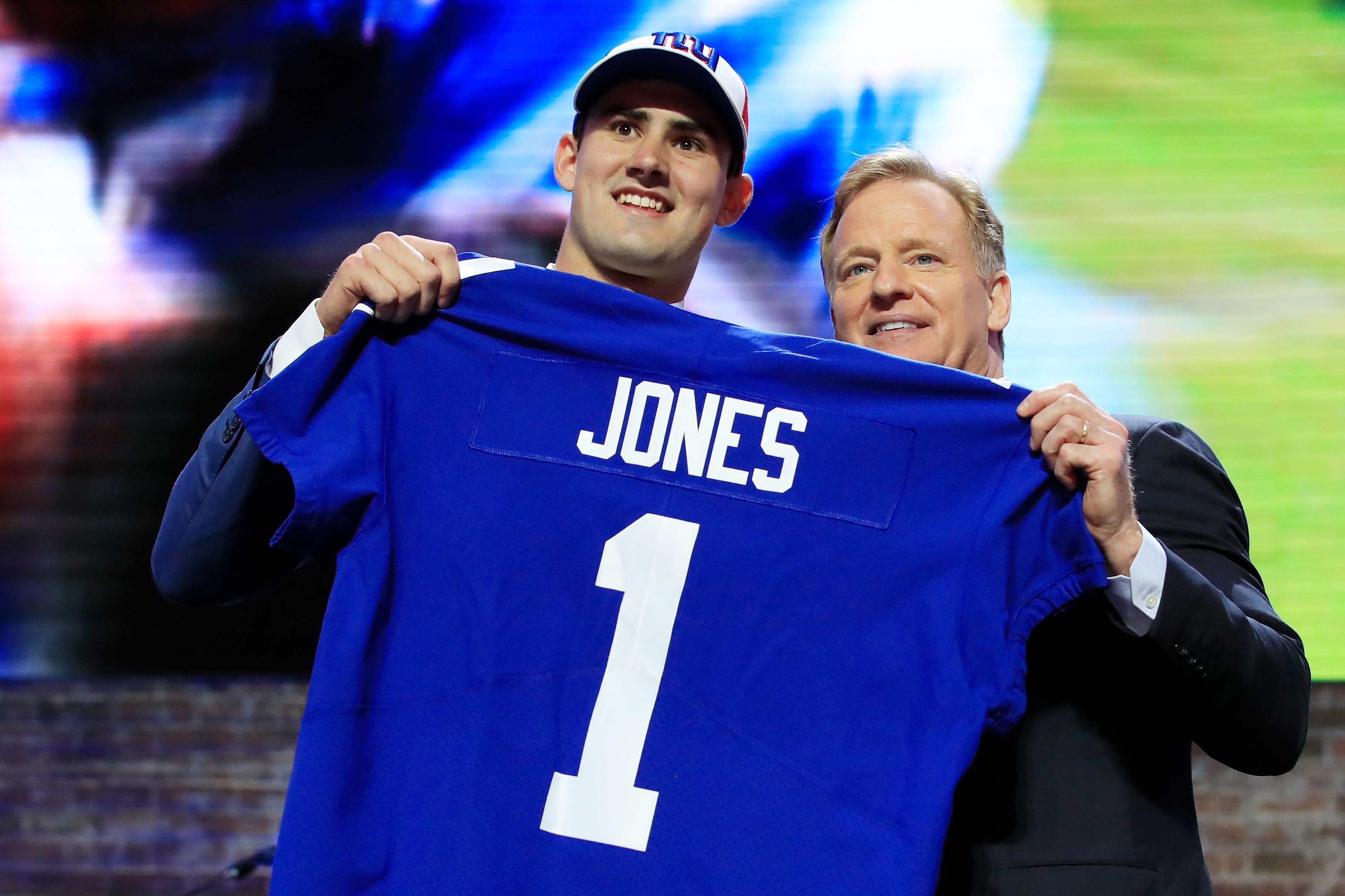 Daniel Jones and NFL Commissioner Roger Goodell on Thursday at the NFL Draft in Nashville, Tennessee.