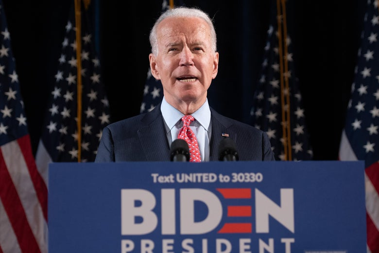 Joe Biden, standing at a podium.