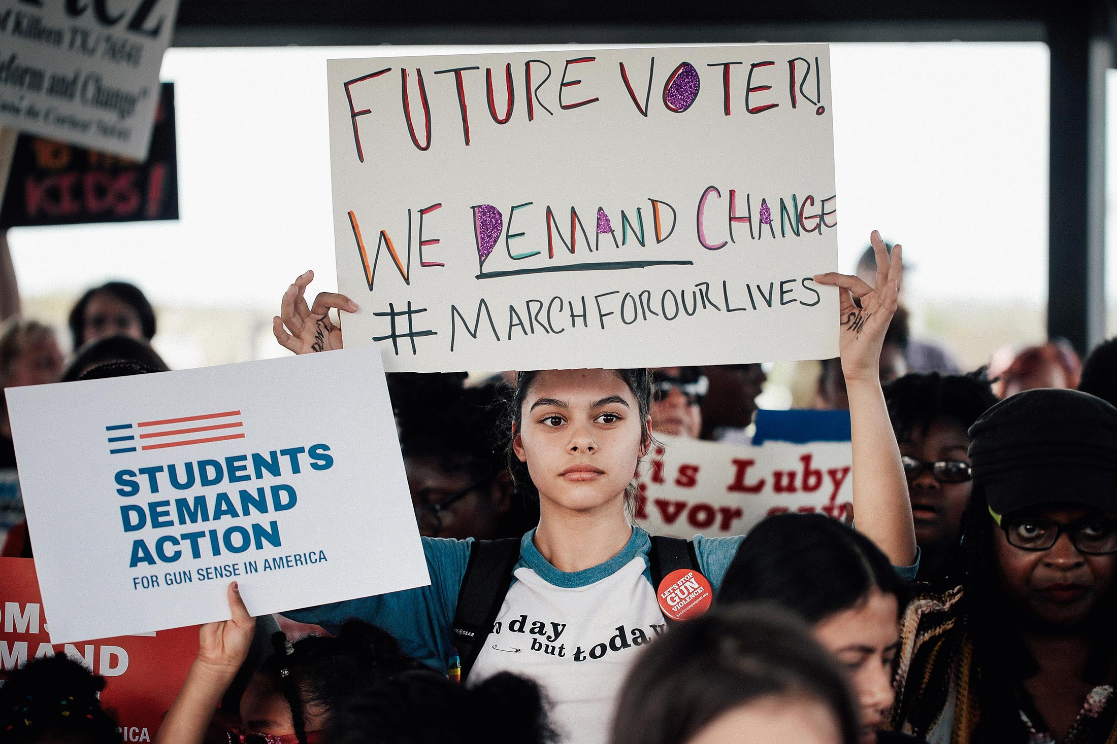 Demonstrators participate in a March for Our Lives rally and march on March 24 in Killeen, Texas.