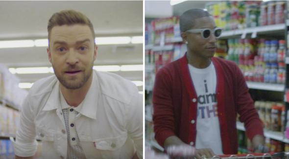 "Stills from the videos for Justin Timberlake's ""Can't Stop the Feeling"" and Pharrell's ""Happy"""
