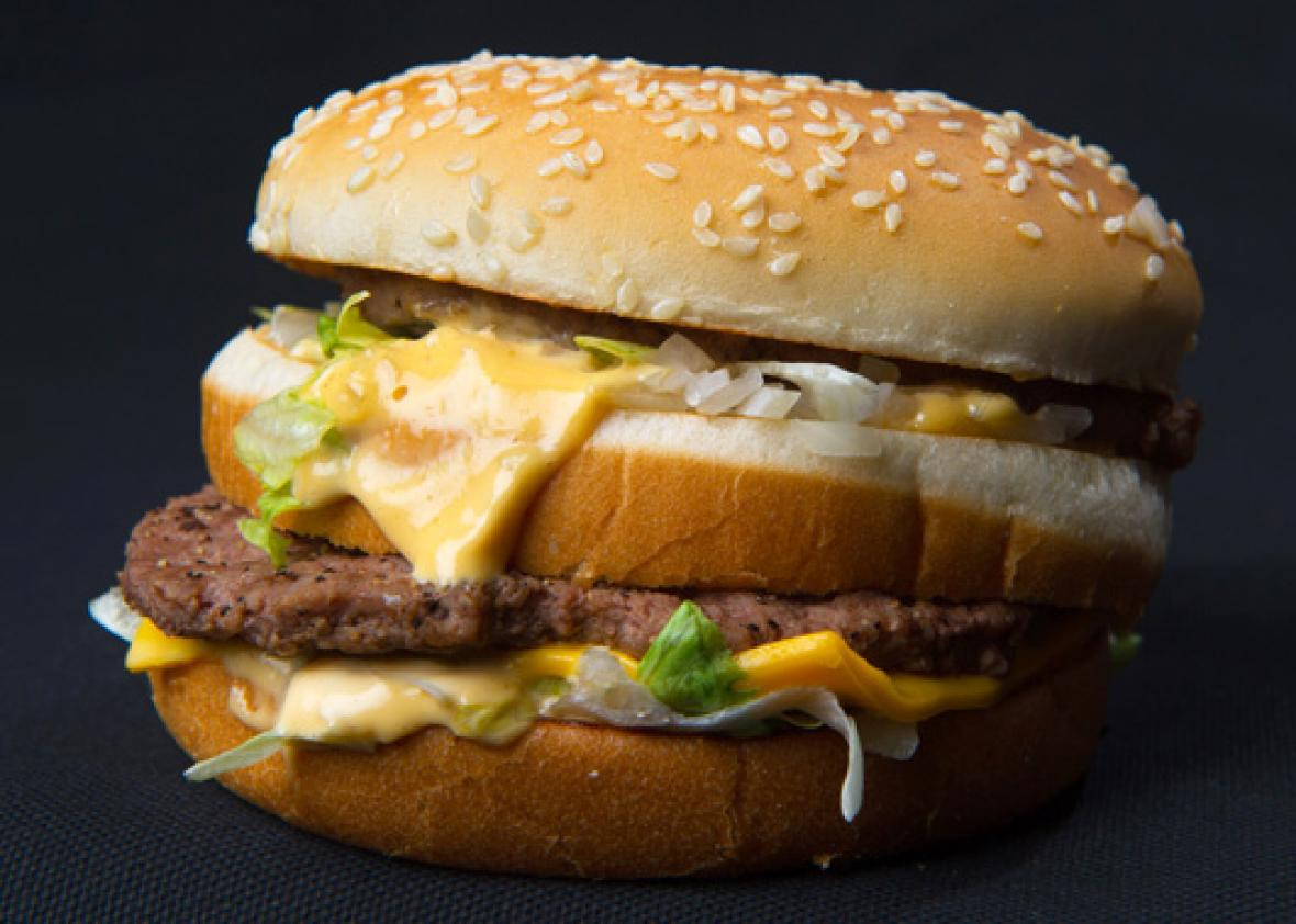 A photo of a McDonalds' Big Mac hamburger, November 2, 2010.