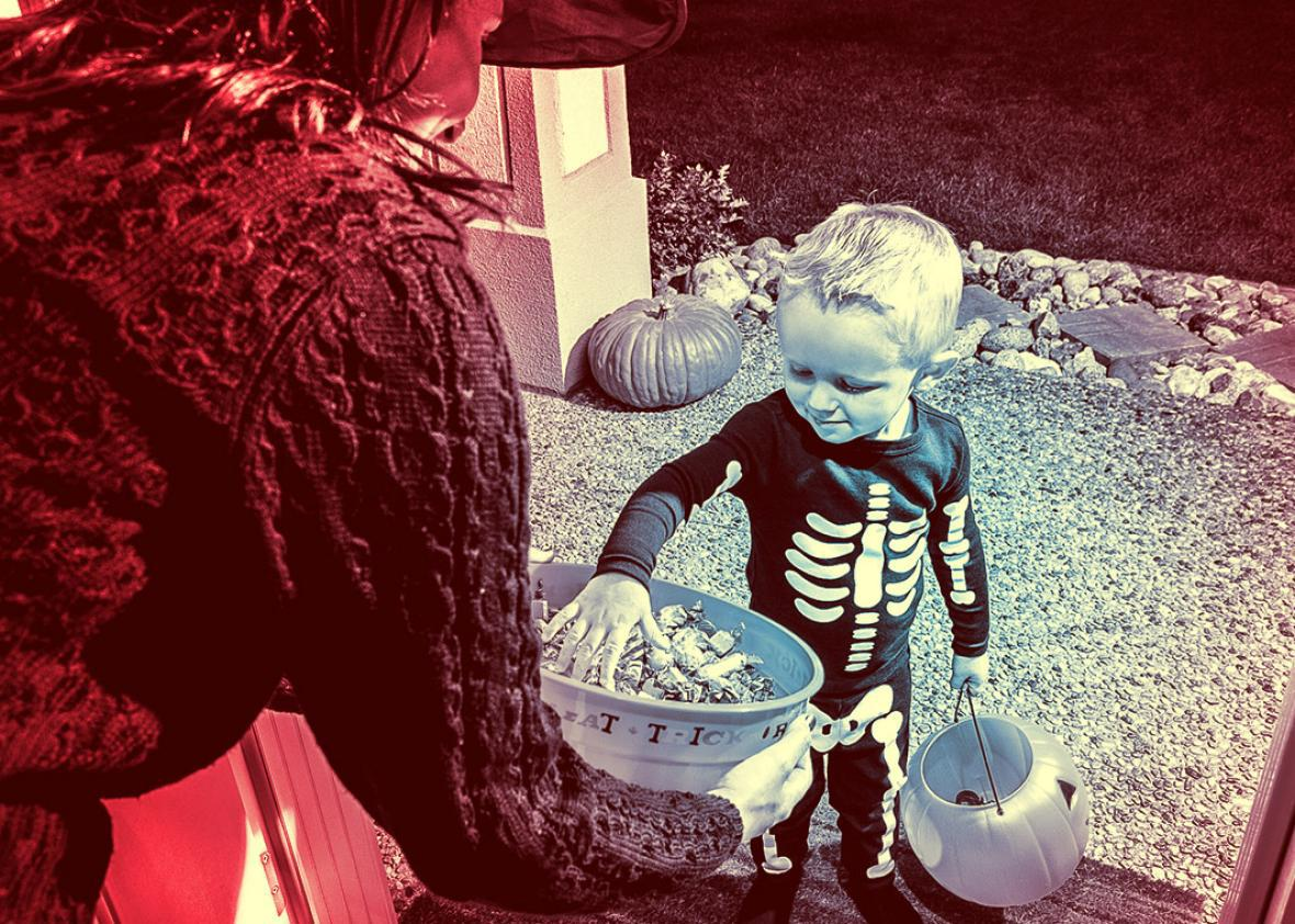 Young boy trick-or-treating