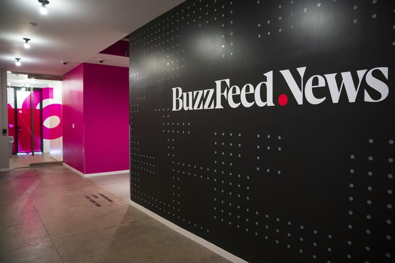 A BuzzFeed News logo adorns a wall inside BuzzFeed headquarters, December 11, 2018 in New York City.