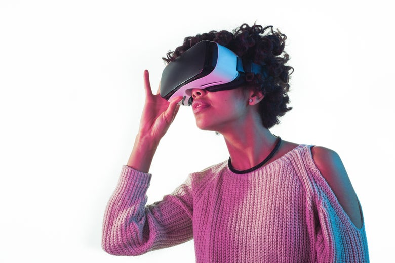 A woman lost in a VR headset
