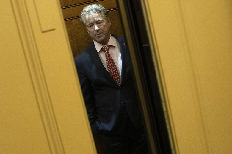 Sen. Rand Paul (R-KY) takes an elevator at the U.S. Capitol for a vote on March 18, 2020 in Washington, D.C.