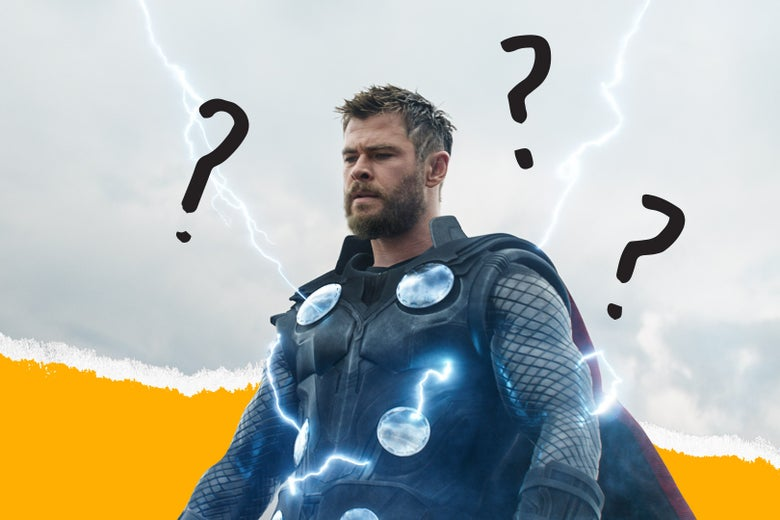 A character from Avengers: Endgame with question marks around him.