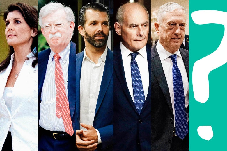 Nikki Haley, John Bolton, Donald Trump Jr., John Kelly, James Mattis, and a question mark.