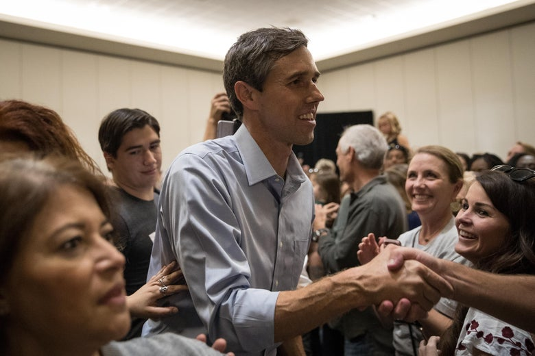 CONROE, TX - OCTOBER 21: Democratic Senate candidate Beto O'Rourke greets supporters at the conclusion of a campaign rally on October 21, 2018 in Conroe, Texas. O'Rourke is running against Sen. Ted Cruz (R-TX) in the midterm elections. (Photo by Loren Elliott/Getty Images)