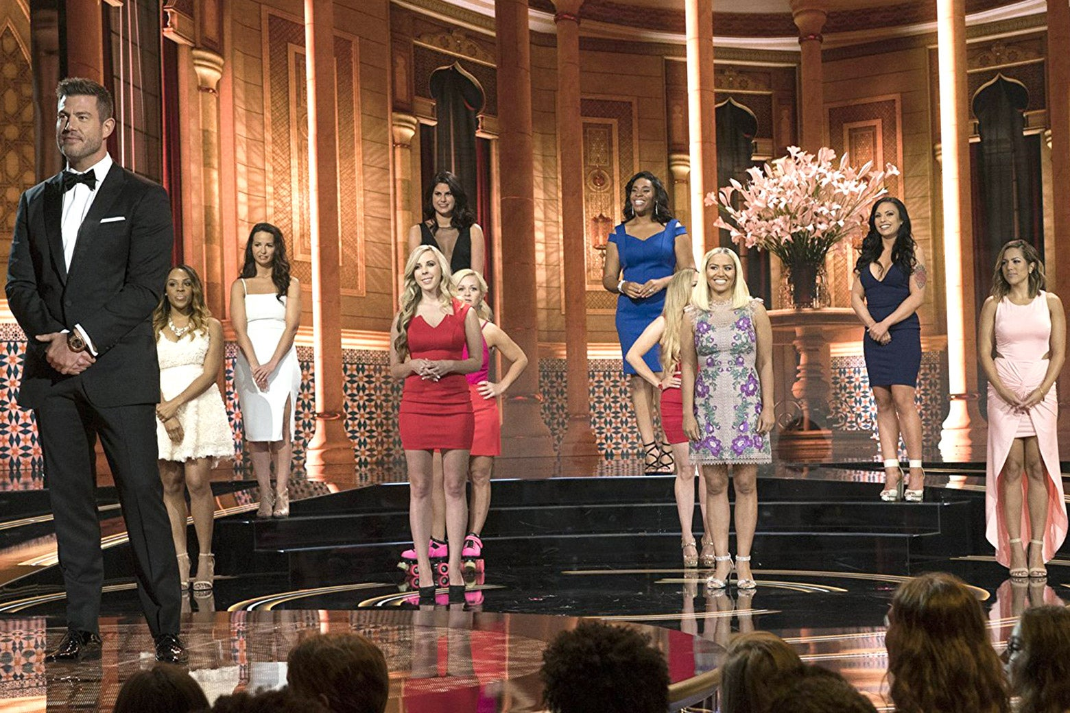 The contestants of The Proposal stand on stage.