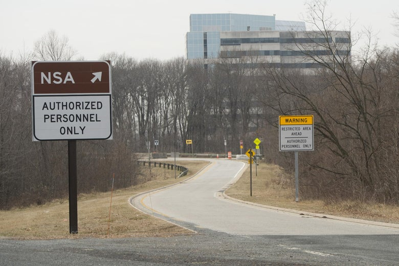 "An entrance to the NSA headquarters is marked by a sign that says ""authorized personnel only."""