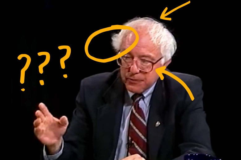 Screenshot from video of Bernie Sanders speaking, annotated with question marks and arrows.