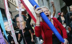 Protesters affiliated with Occupy Wall Street march in the Financial District on Monday in New York City.