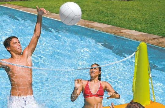 Players playing the Intex Pool Volleyball Game.