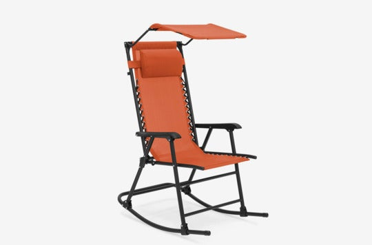 Best Choice Products Foldable Zero Gravity Rocking Patio Recliner Chair With Sunshade Canopy.