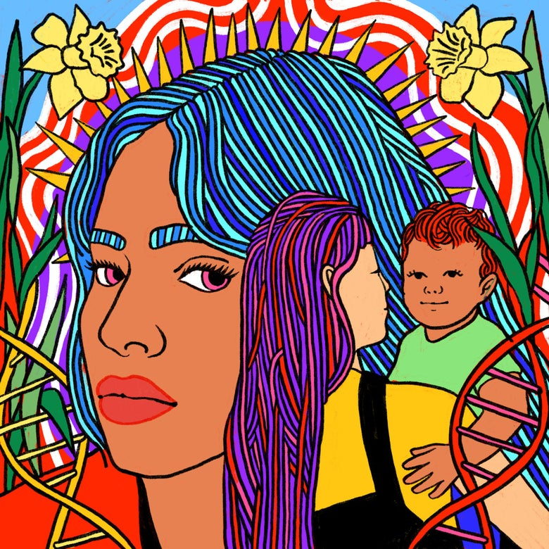 A woman with long hair looks over at another long-haired woman holding a small child. DNA helixes and flowers surround them.