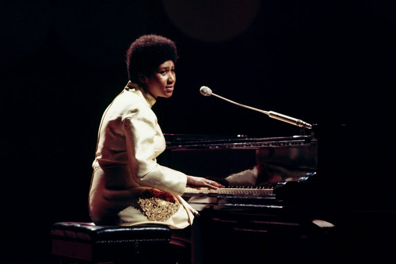 Aretha Franklin performs on BBC TV show It's Lulu in London, August 1970.
