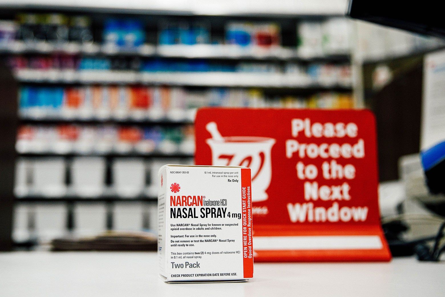 A package of Narcan nasal spray on a counter at a Walgreens.