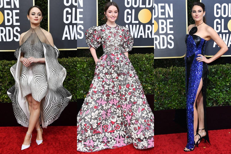 Joey King, Kaitlyn Dever, and Shailene Woodley pose on the 2020 Golden Globes red carpet.