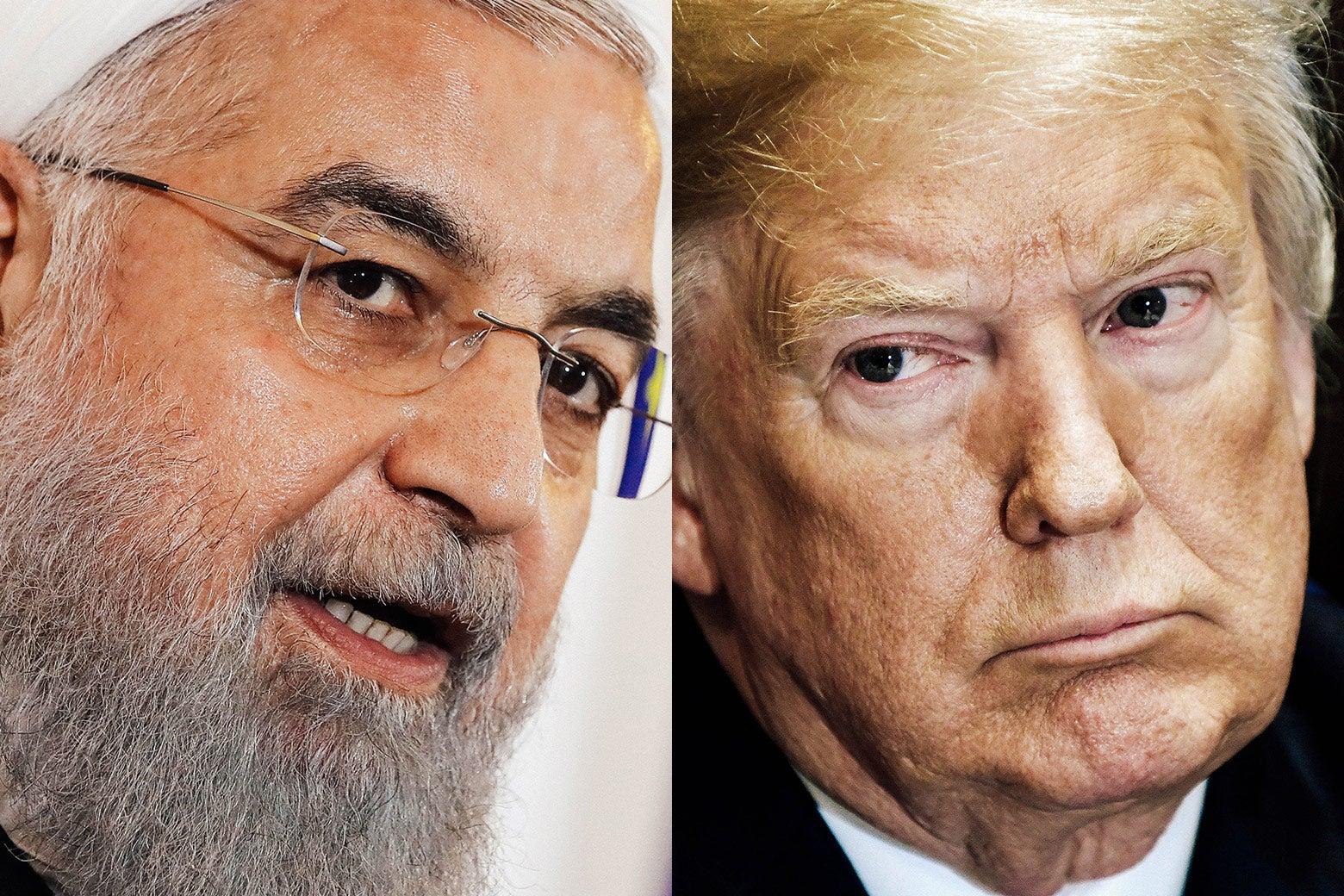 Iranian President Hassan Rouhani and U.S. President Donald Trump.