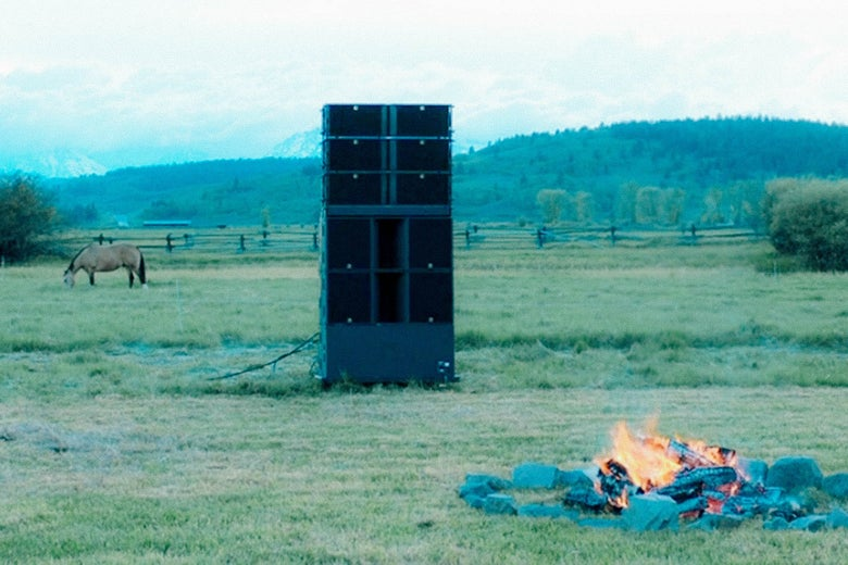 A field in Wyoming, the site of Kanye's listening party.