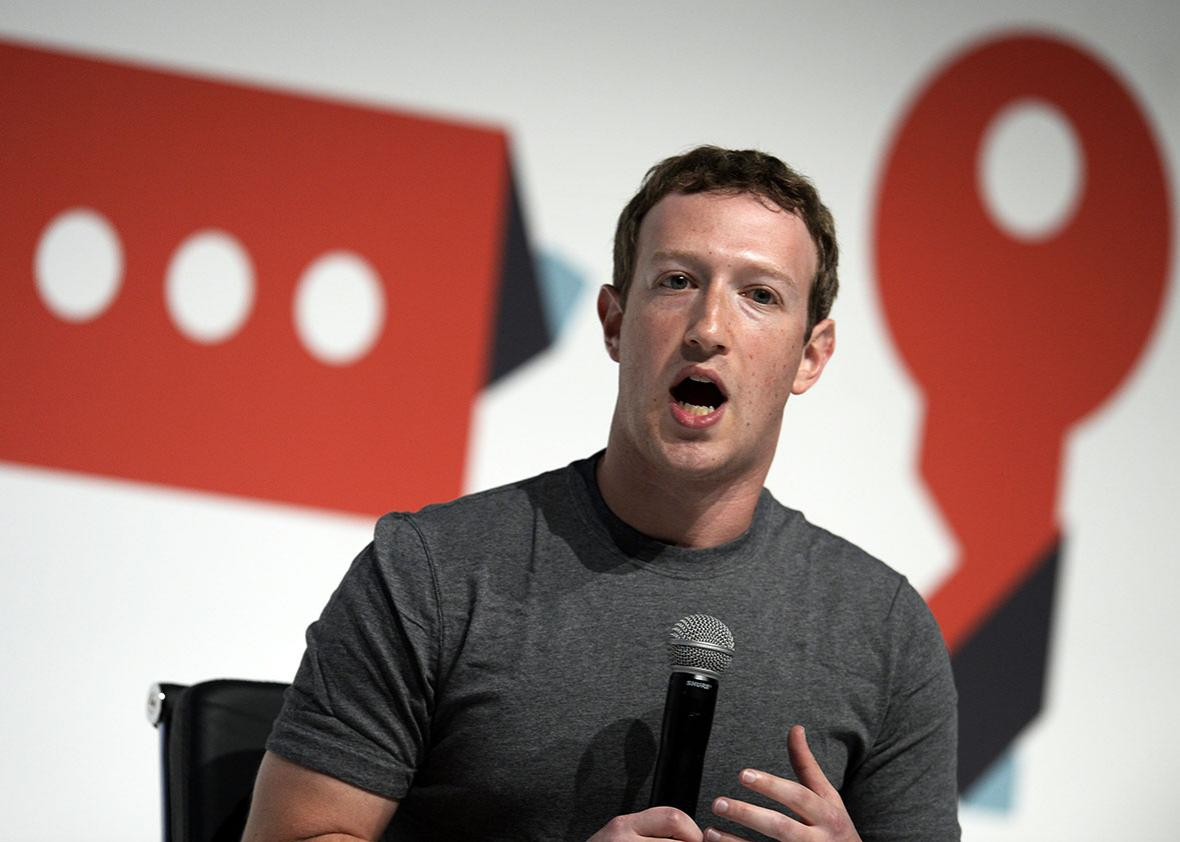 Facebook's creator Mark Zuckerberg speaks on the opening day of the 2015 Mobile World Congress in Barcelona on March 2, 2015.