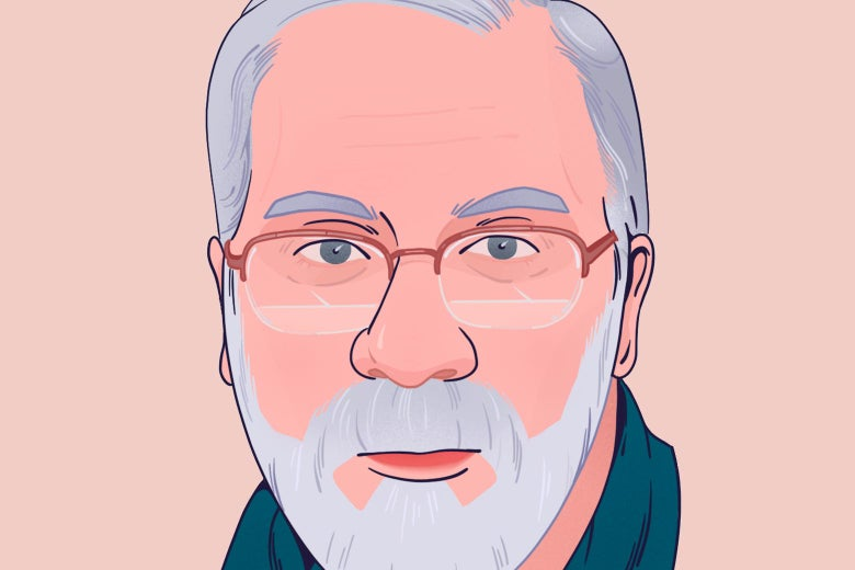 60-year-old man with a beard and glasses