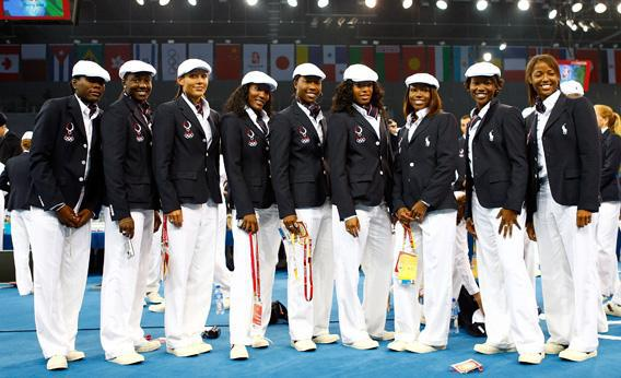 Athletes from the United States Olympic women's track and field team on the opening day of the Beijing 2008 Olympic Games on August 8, 2008 in Beijing, China.