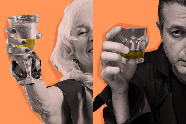 Against an orange background, a smiling woman holding a champagne glass next to a man holding a tumbler of whiskey.