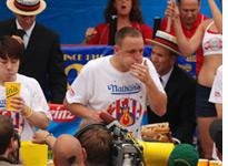 Takeru Kobayashi, left, of Japan, and Joey Chestnut, right         Click image to expand.