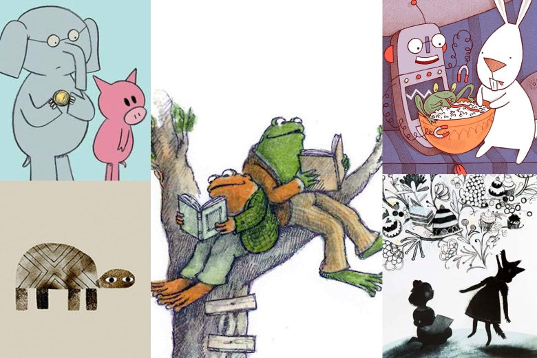 A collage of illustrations of children's book characters