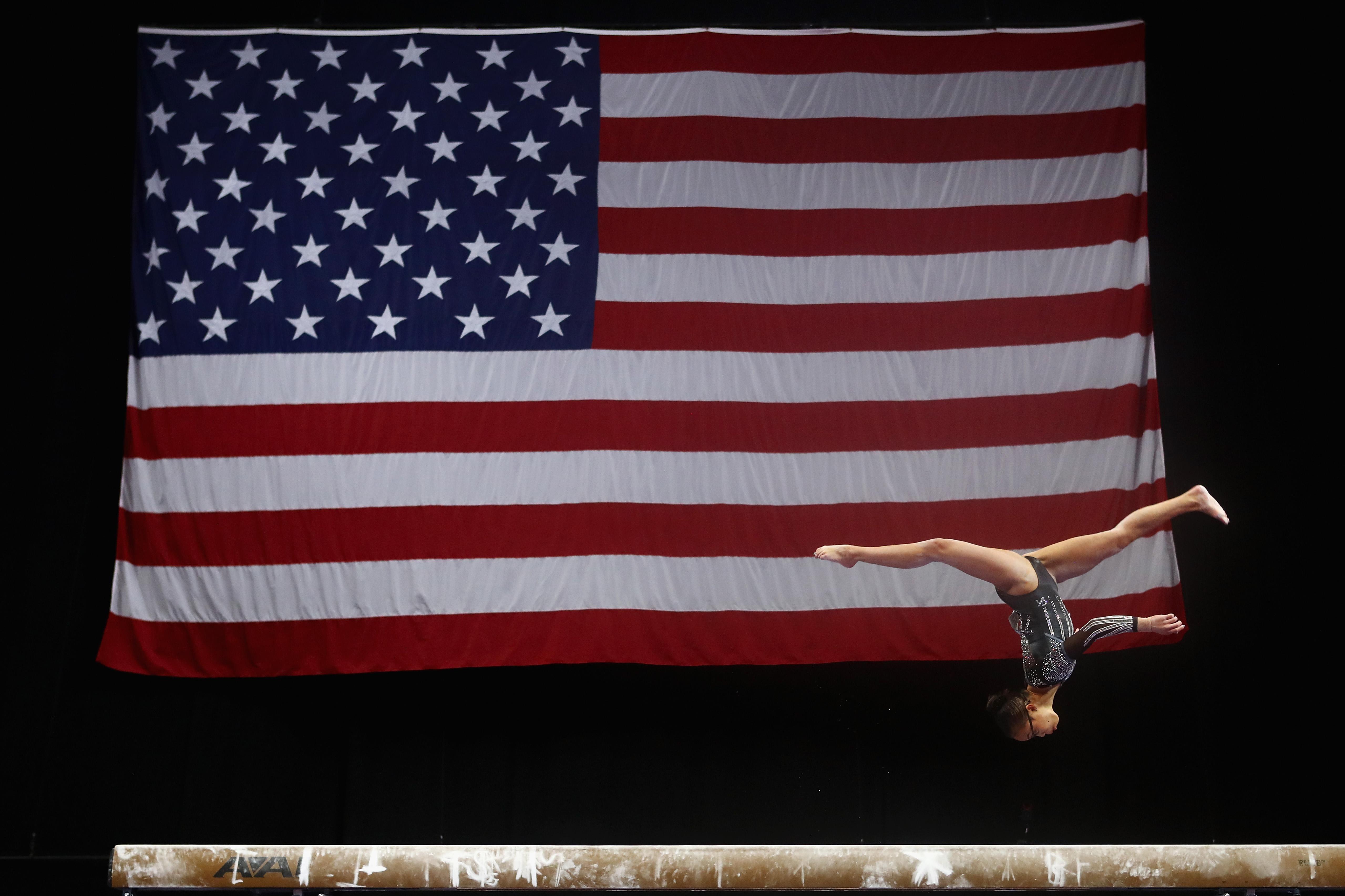 An American gymnast on the balance beam during the U.S. Gymnastics Championships on Aug. 19, 2018 in Boston, Massachusetts.