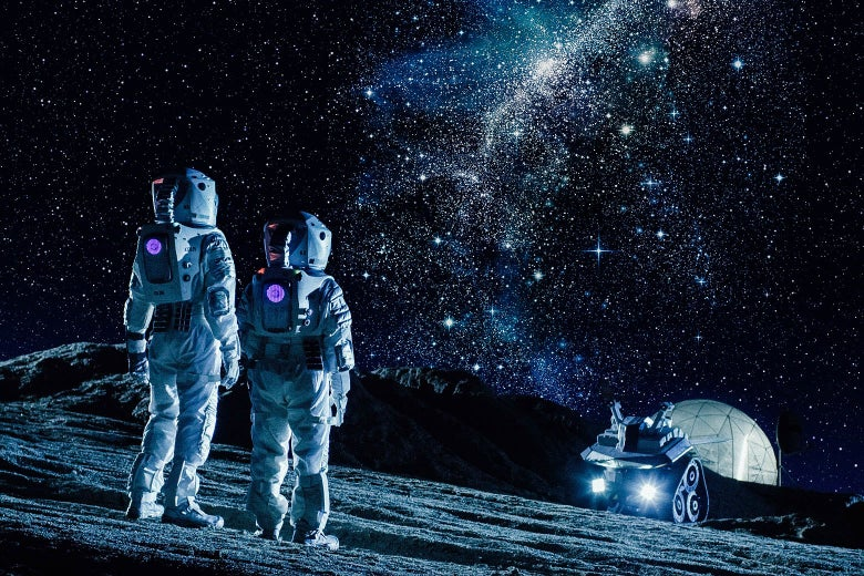 Two people in space suits look out at a rover on a planet.