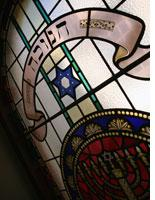 Stained glass window in a synagogue.