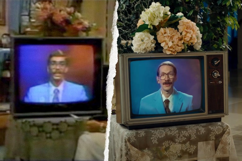 Two TV screens showing men in blue suits talking straight to the camera.