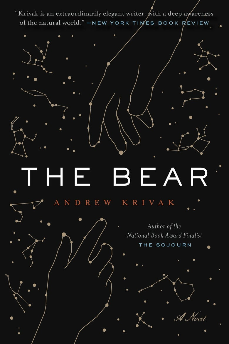 The cover of The Bear features constellations, including of two hands reaching for each other.
