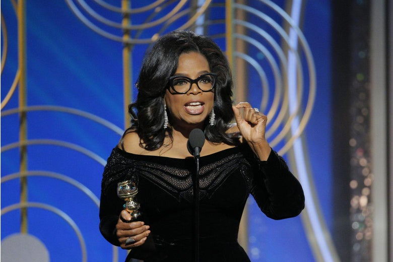 Oprah Winfrey accepts the 2018 Cecil B. DeMille Award speaks onstage during the 75th Annual Golden Globe Awards at The Beverly Hilton Hotel on January 7, 2018 in Beverly Hills, California. Paul Drinkwater/NBCUniversal via Getty Images.