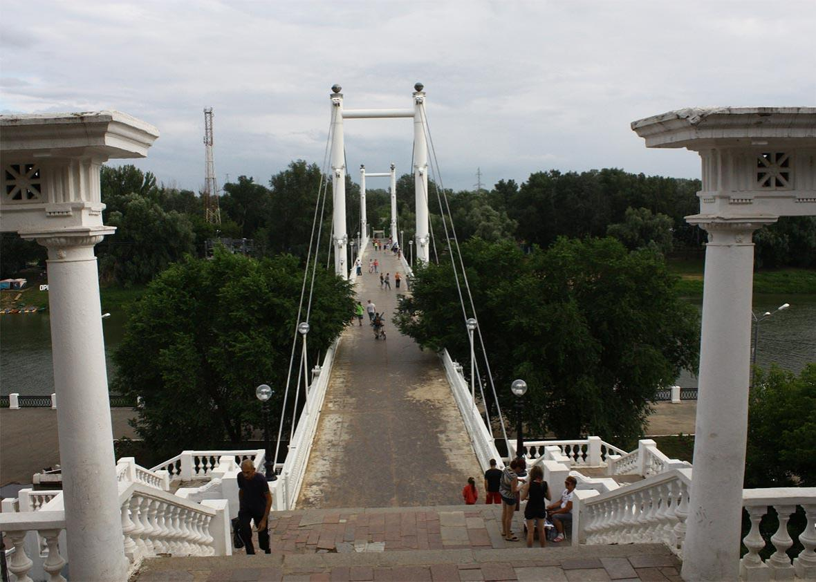 Bridge over the Ural River, considered the border between Europe and Asia here.
