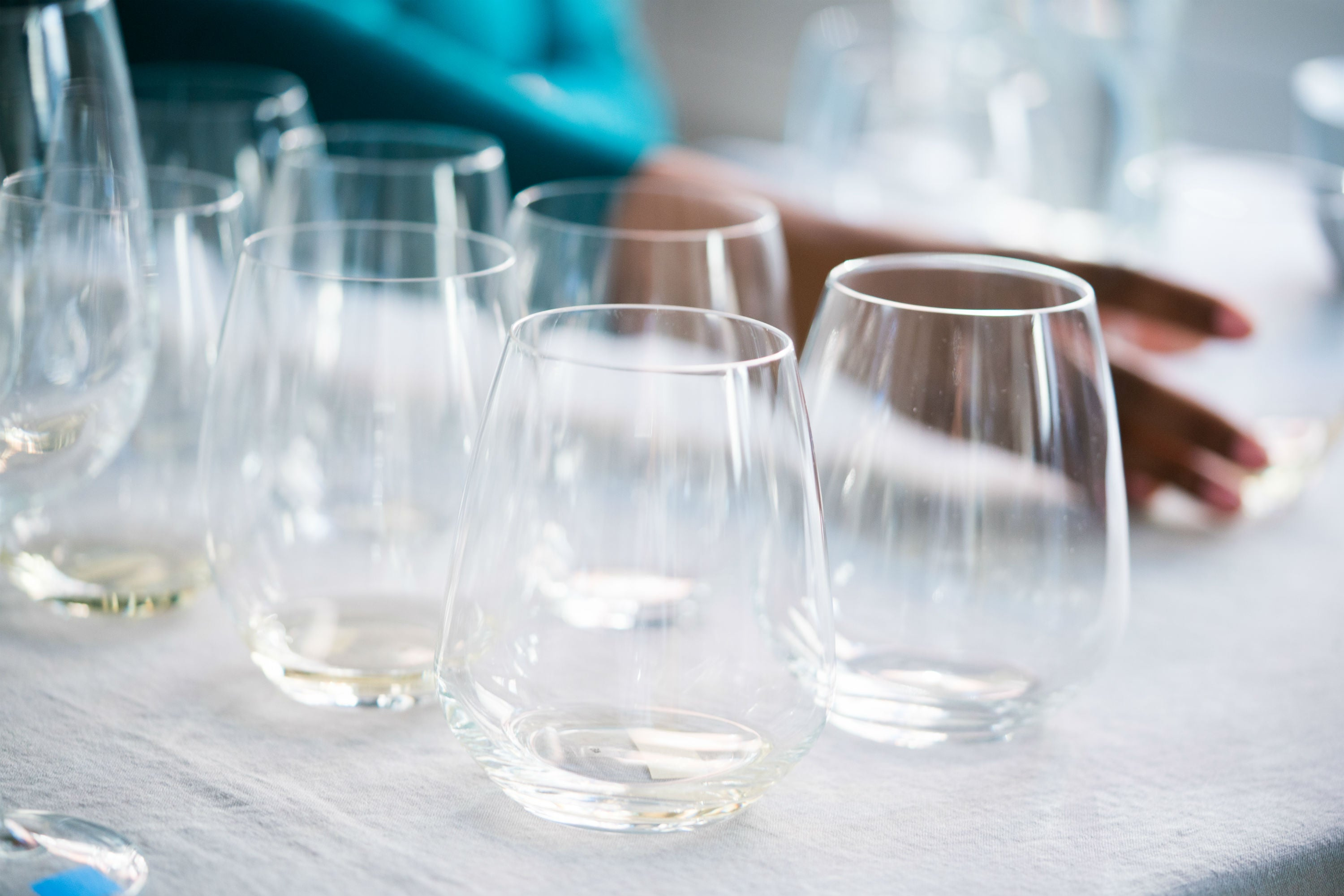 stemless wine glasses lined up