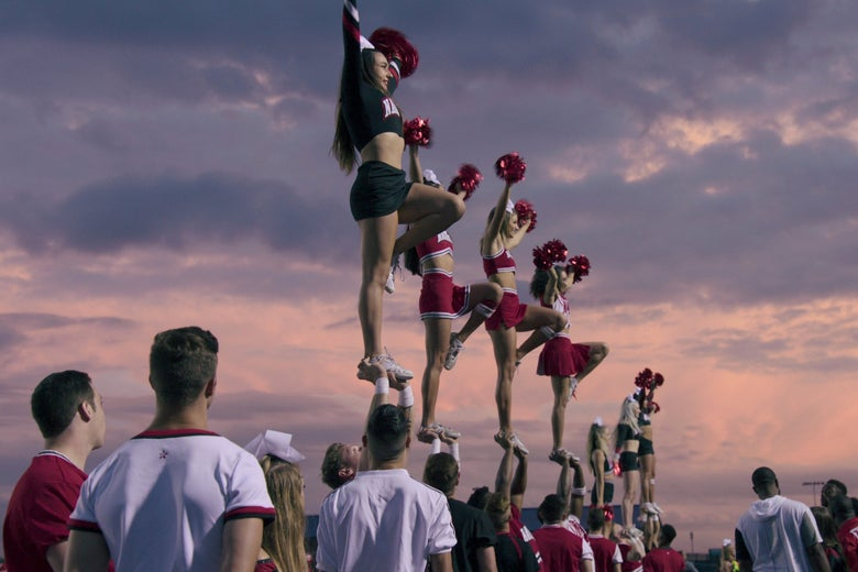 The Navarro College team performs in Netflix's Cheer.