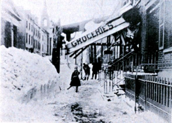 11th Street, New York, NY, looking west. The Great Blizzard of March 12, 1888.